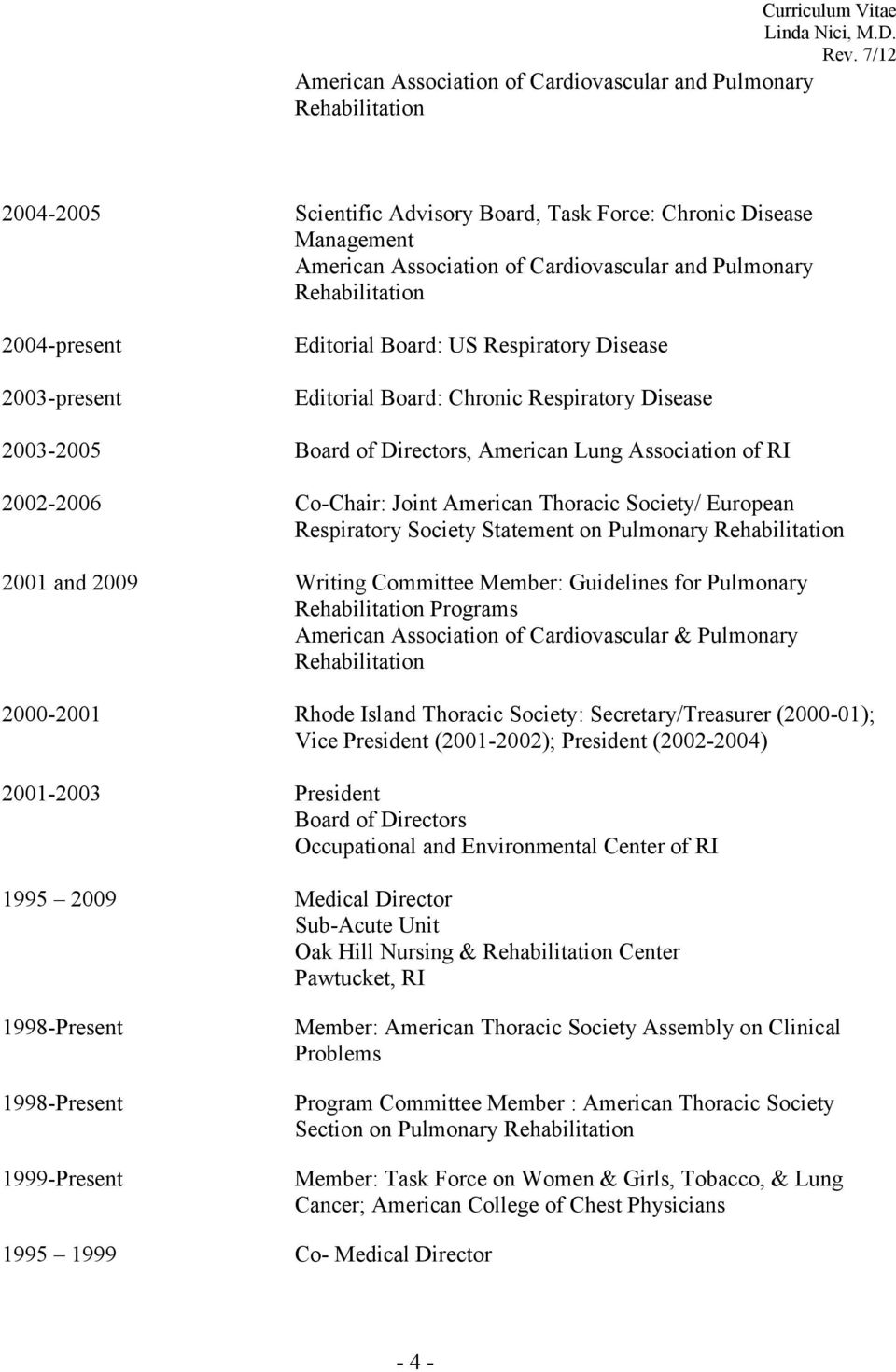RI 2002-2006 Co-Chair: Joint American Thoracic Society/ European Respiratory Society Statement on Pulmonary Rehabilitation 2001 and 2009 Writing Committee Member: Guidelines for Pulmonary