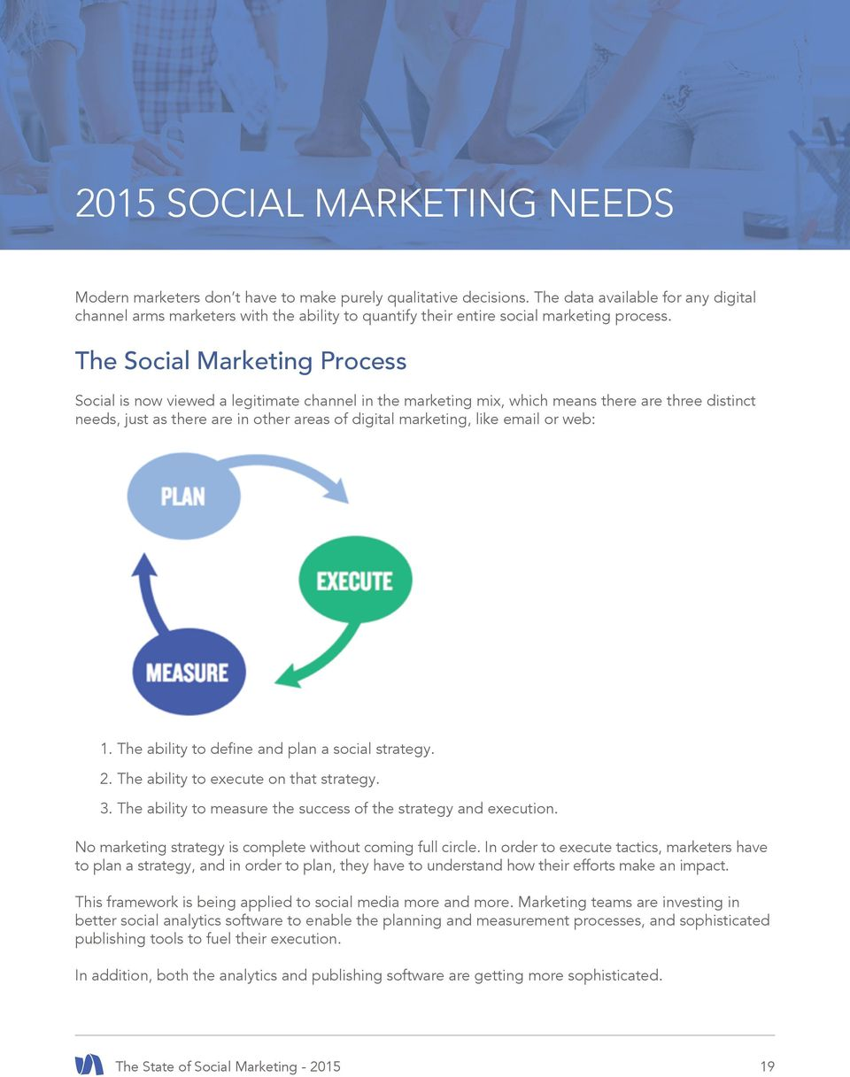 The Social Marketing Process Social is now viewed a legitimate channel in the marketing mix, which means there are three distinct needs, just as there are in other areas of digital marketing, like
