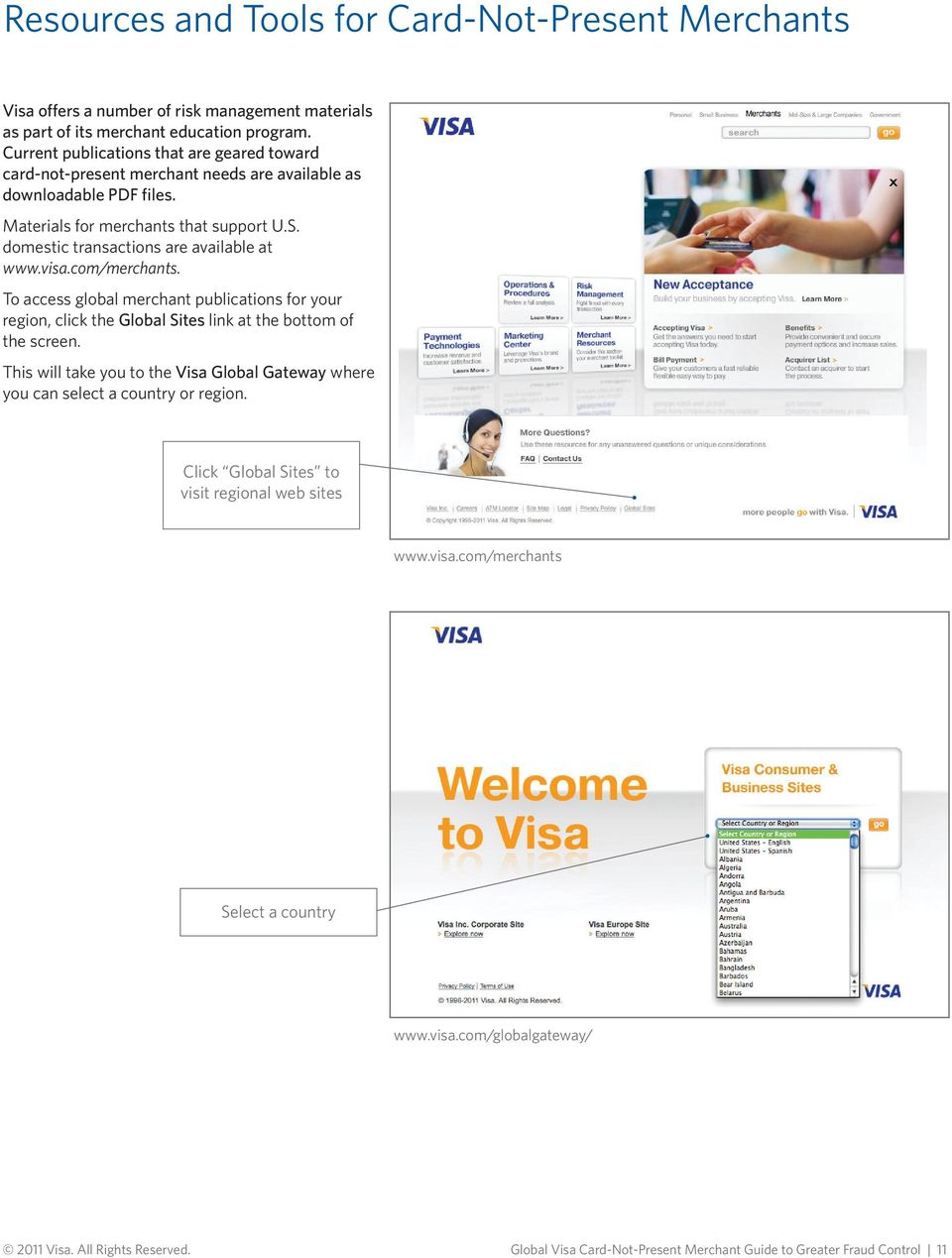 domestic transactions are available at www.visa.com/merchants. To access global merchant publications for your region, click the Global Sites link at the bottom of the screen.