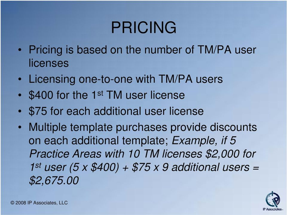 template purchases provide discounts on each additional template; Example, if 5 Practice