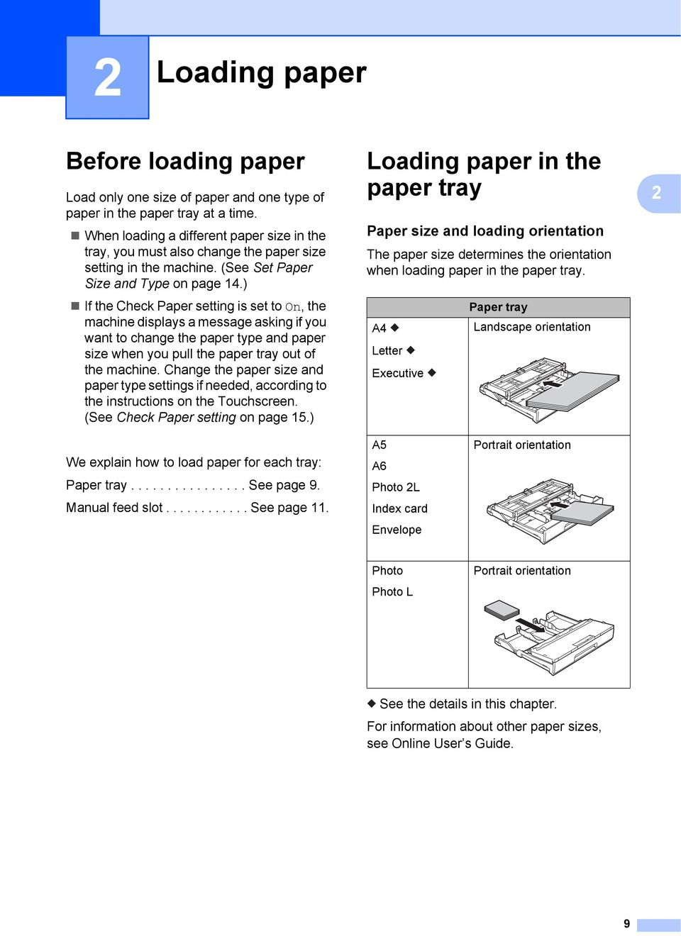 ) If the Check Paper setting is set to On, the machine displays a message asking if you want to change the paper type and paper size when you pull the paper tray out of the machine.