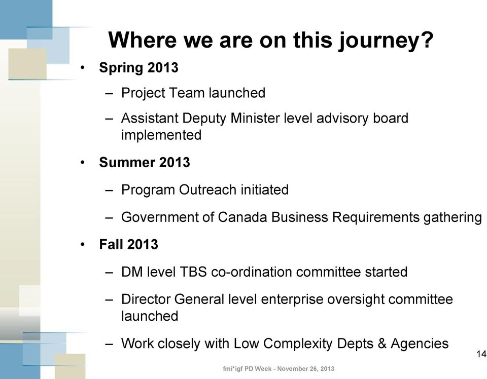Summer 2013 Program Outreach initiated Government of Canada Business Requirements gathering Fall