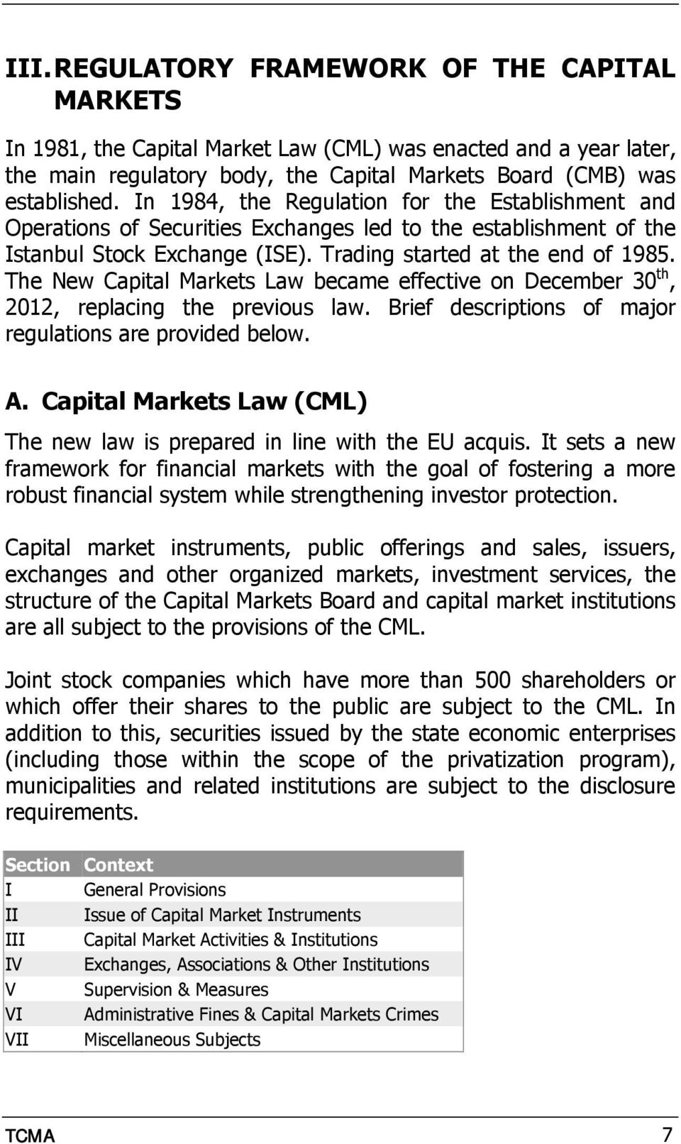 The New Capital Markets Law became effective on December 30 th, 2012, replacing the previous law. Brief descriptions of major regulations are provided below. A.