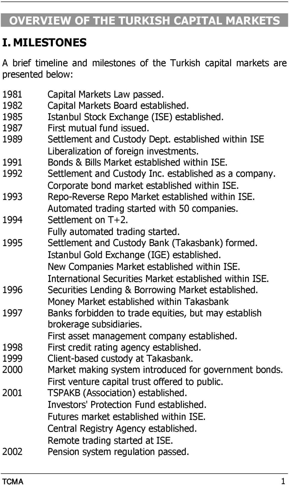 established within ISE Liberalization of foreign investments. 1991 Bonds & Bills Market established within ISE. 1992 Settlement and Custody Inc. established as a company.