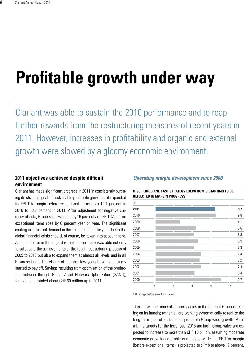 2011 objectives achieved despite difficult environment Clariant has made significant progress in 2011 in consistently pursuing its strategic goal of sustainable profitable growth as it expanded its