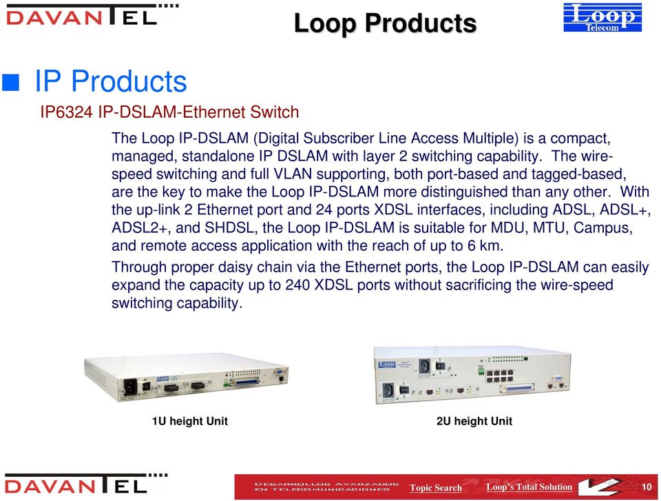 With the up-link 2 Ethernet port and 24 ports XDSL interfaces, including ADSL, ADSL+, ADSL2+, and SHDSL, the Loop IP-DSLAM is suitable for MDU, MTU, Campus, and remote access application with