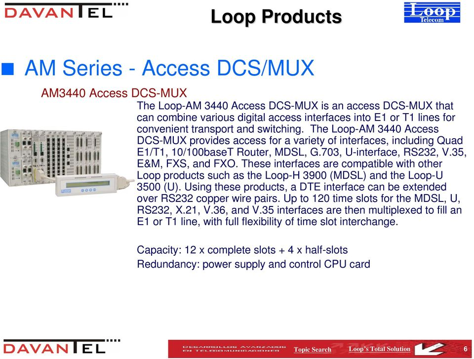 35, E&M, FXS, and FXO. These interfaces are compatible with other Loop products such as the Loop-H 3900 (MDSL) and the Loop-U 3500 (U).
