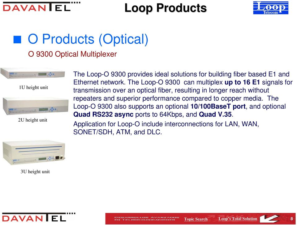 The Loop-O 9300 can multiplex up to 16 E1 signals for transmission over an optical fiber, resulting in longer reach without repeaters and superior