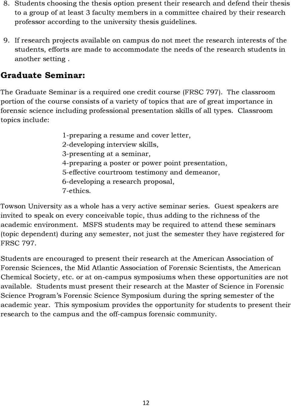 master of science in forensic science pdf if research projects available on campus do not meet the research interests of the students