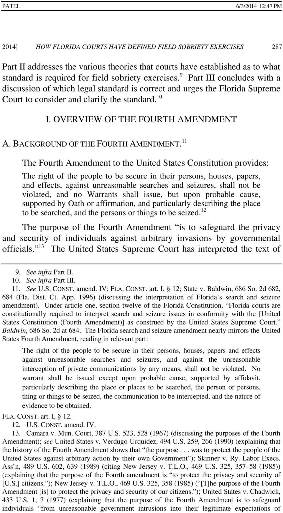 BACKGROUND OF THE FOURTH AMENDMENT.