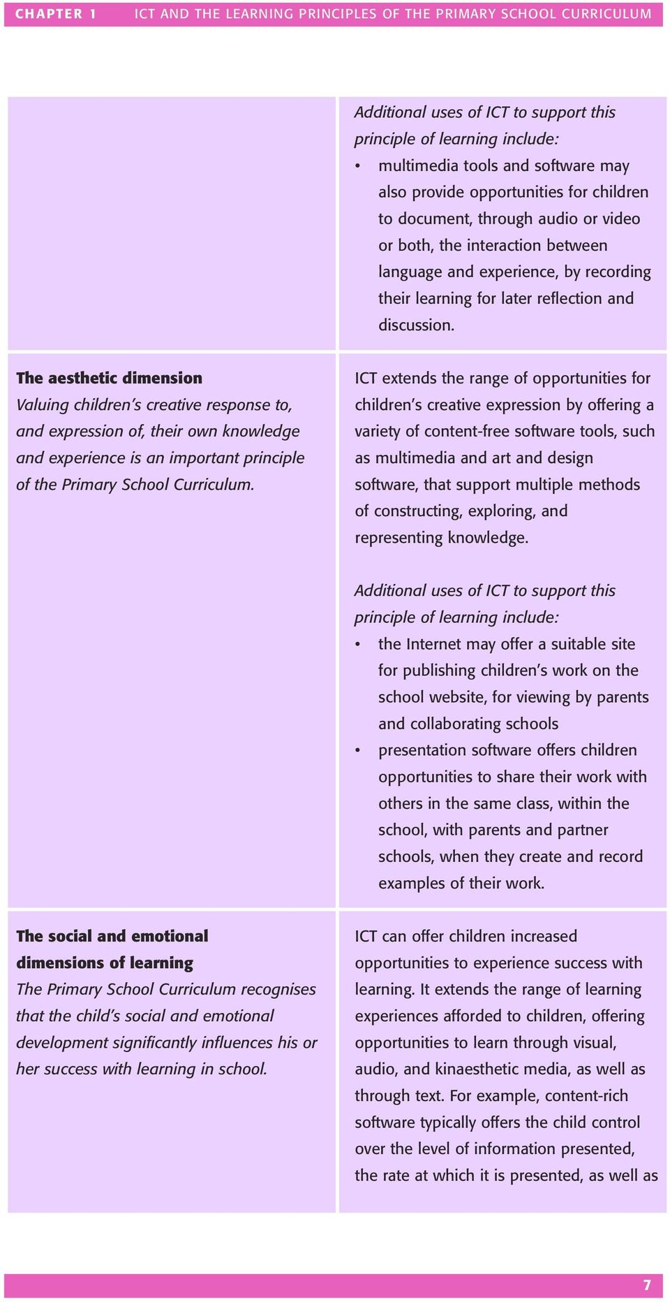 The aesthetic dimension Valuing children s creative response to, and expression of, their own knowledge and experience is an important principle of the Primary School Curriculum.