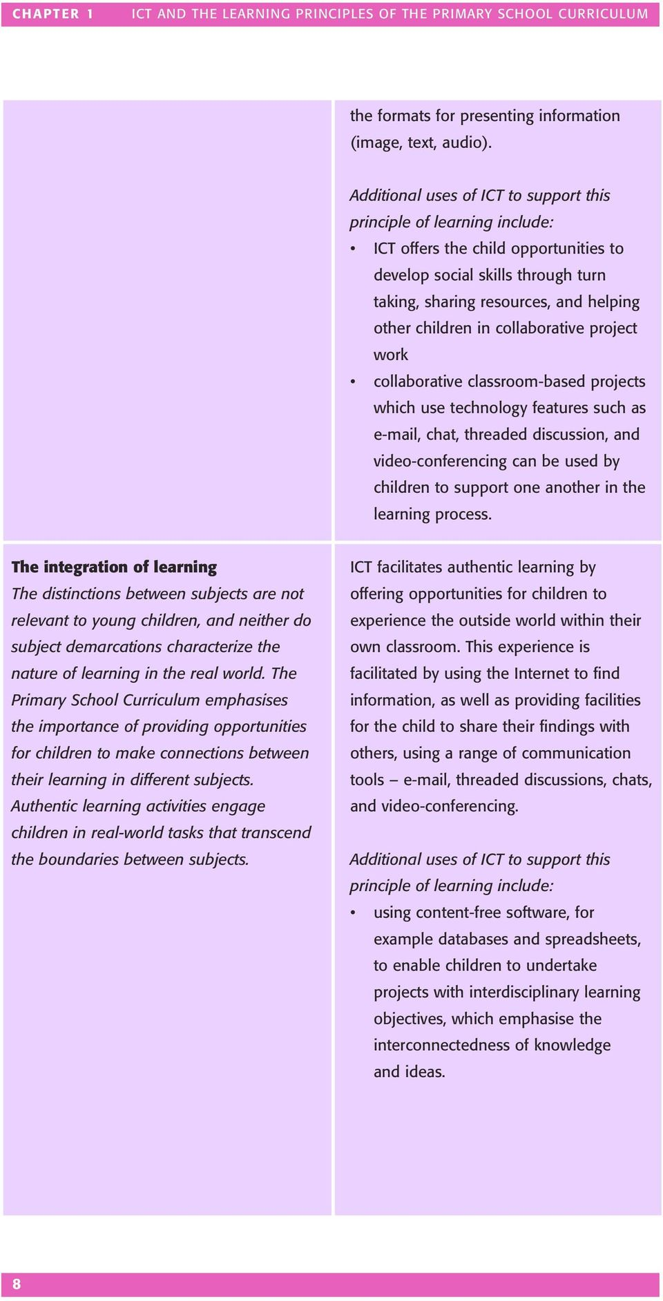 collaborative project work collaborative classroom-based projects which use technology features such as e-mail, chat, threaded discussion, and video-conferencing can be used by children to support