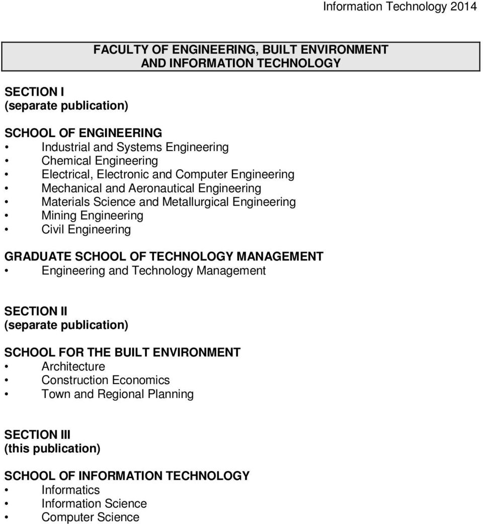 Civil Engineering GRADUATE SCHOOL OF TECHNOLOGY MANAGEMENT Engineering and Technology Management SECTION II (separate publication) SCHOOL FOR THE BUILT ENVIRONMENT