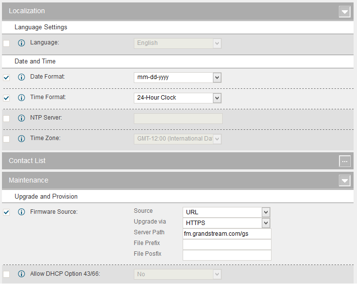 Figure 68: Zero Config Sample - Global Policy 3. Go to web GUI->PBX->Zero Config->Model Templates, create a new model template English Support Template for GXP2140.