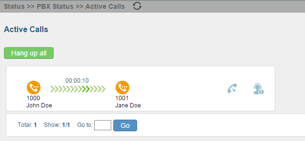 ACTIVE CALLS AND MONITOR The active calls on the UCM6100 are displayed in web UI->Status->Active Calls page.