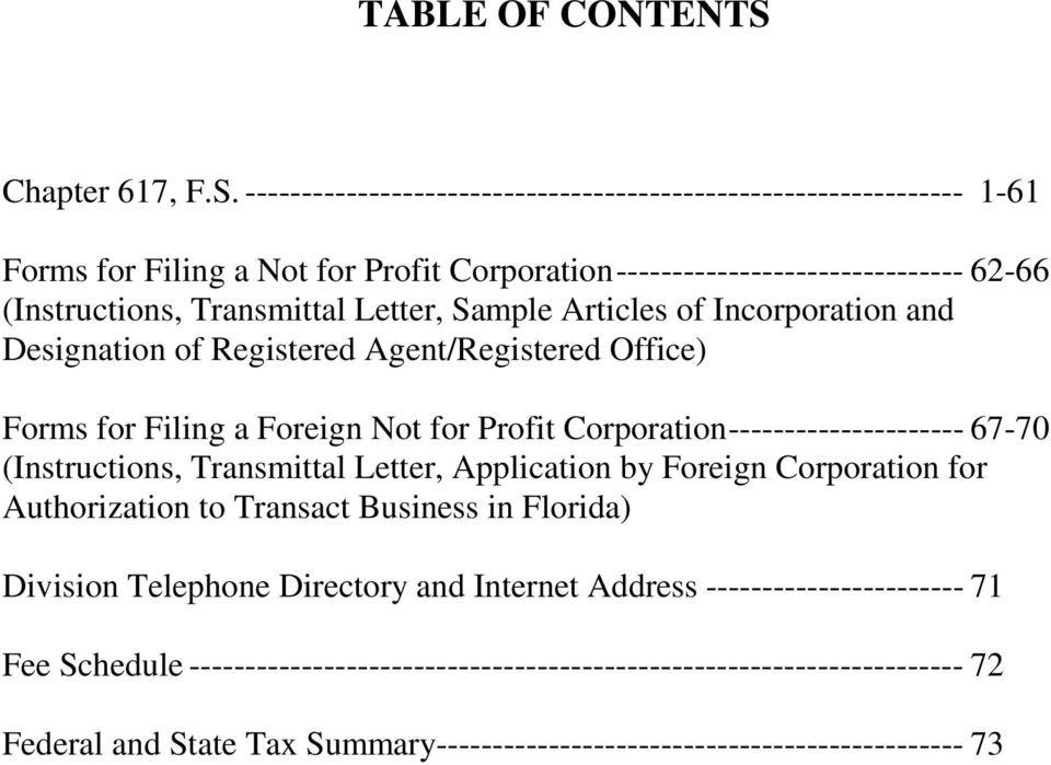 ---------------------------------------------------------------- 1-61 Forms for Filing a Not for Profit Corporation ------------------------------- 62-66 (Instructions, Transmittal Letter,