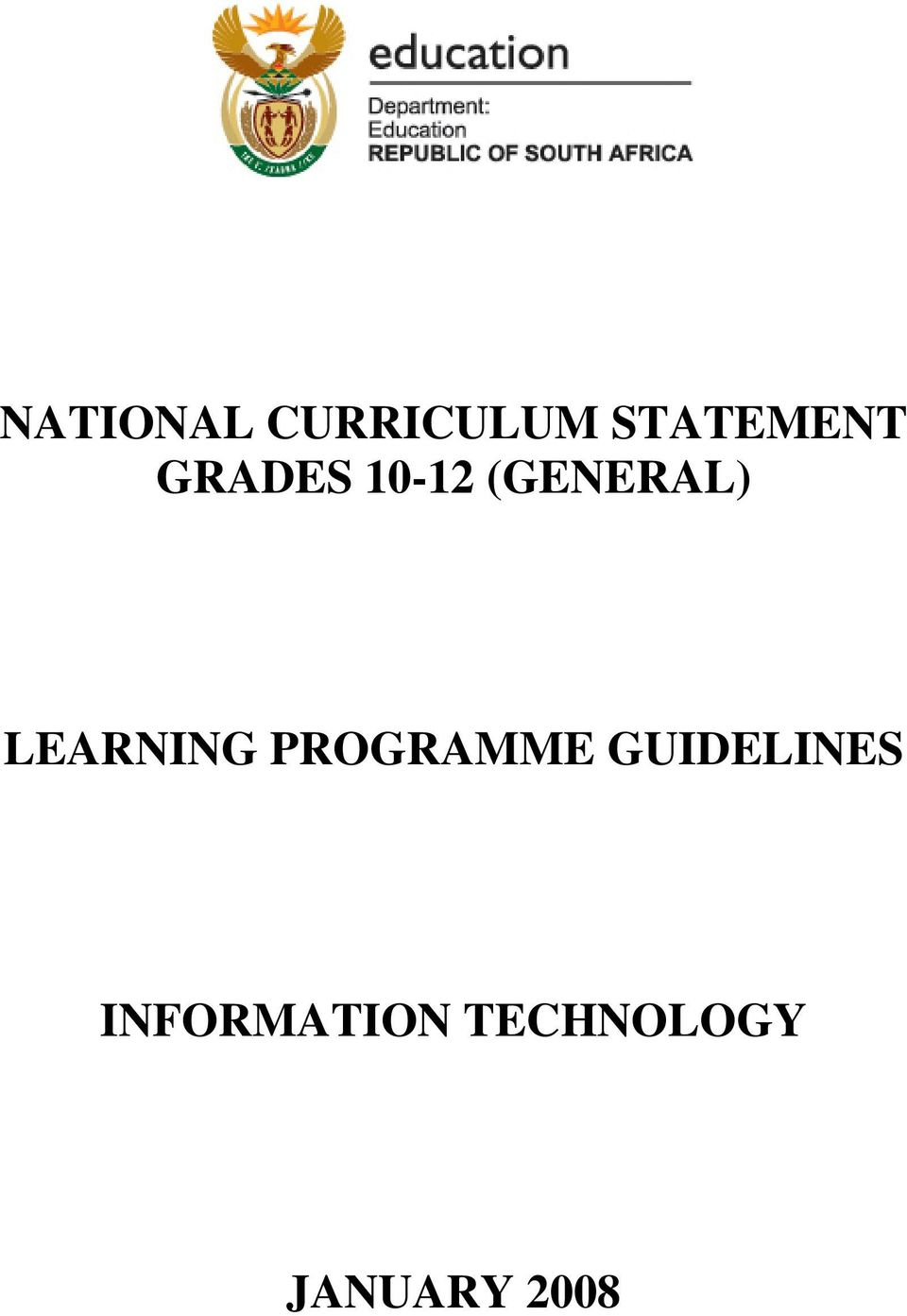LEARNING PROGRAMME GUIDELINES