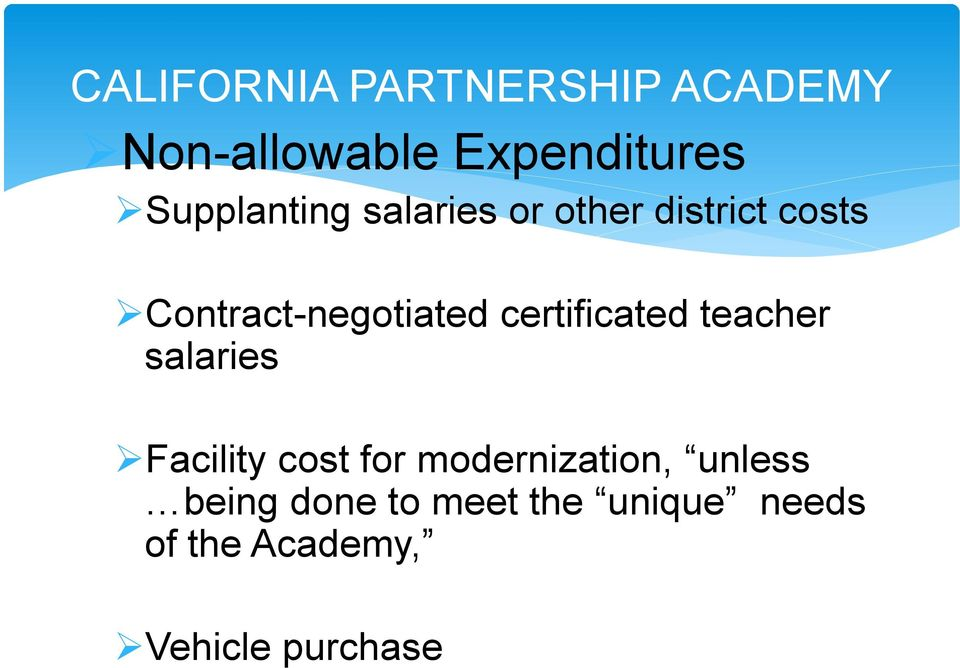 certificated teacher salaries Facility cost for modernization,