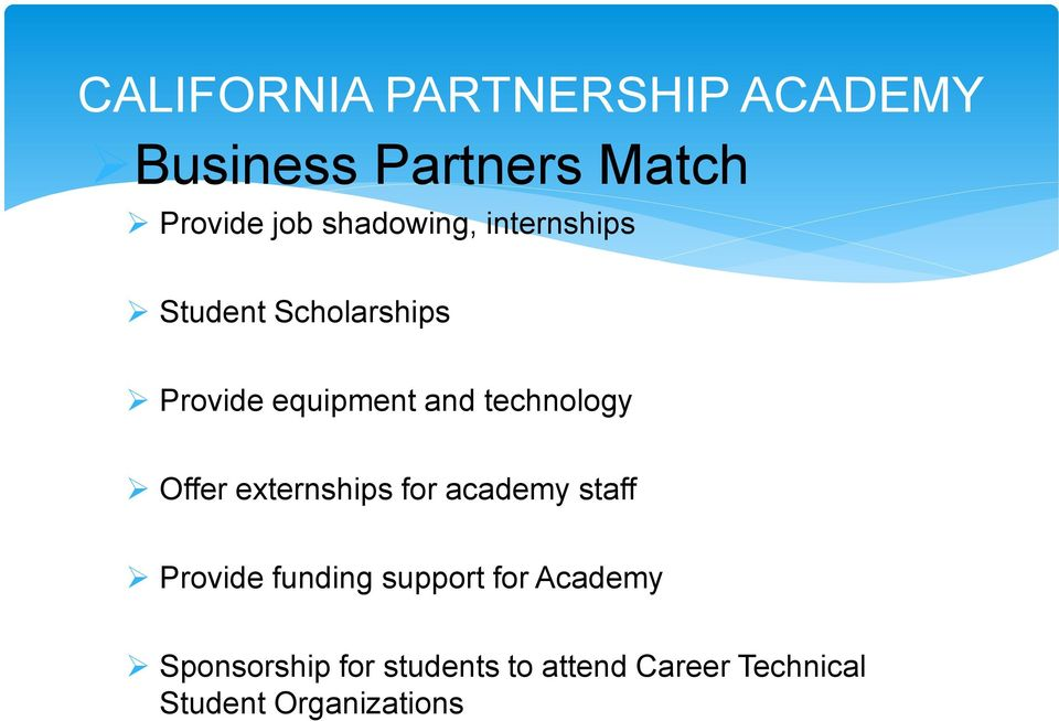 technology Offer externships for academy staff Provide funding support