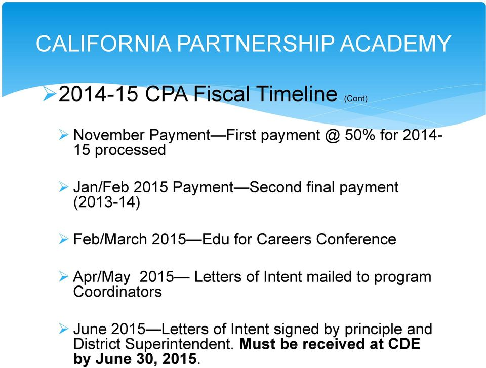 for Careers Conference Apr/May 2015 Letters of Intent mailed to program Coordinators June 2015