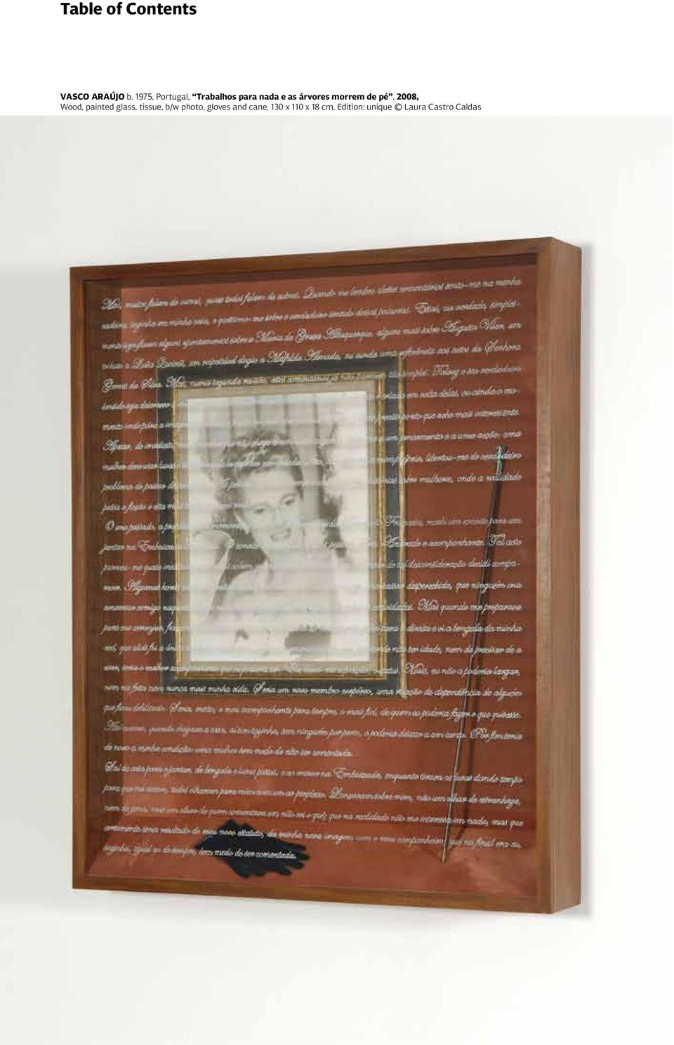 pé, 2008, Wood, painted glass, tissue, b/w photo, gloves and