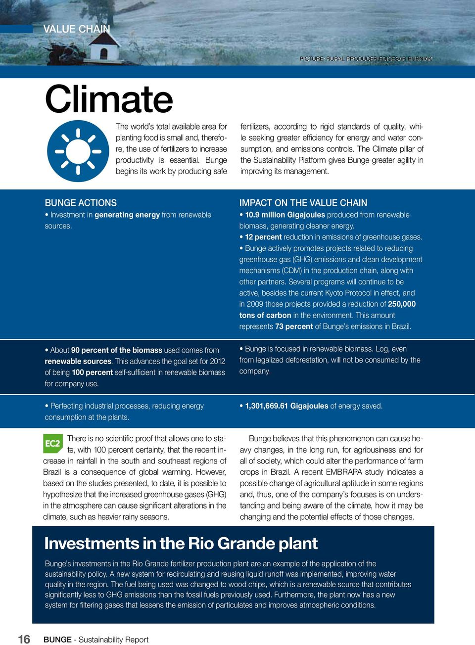 The Climate pillar of the Sustainability Platform gives Bunge greater agility in improving its management. BUNGE ACTIONS Investment in generating energy from renewable sources.