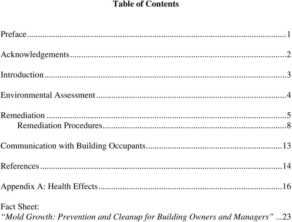 ..8 Communication with Building Occupants...13 References.