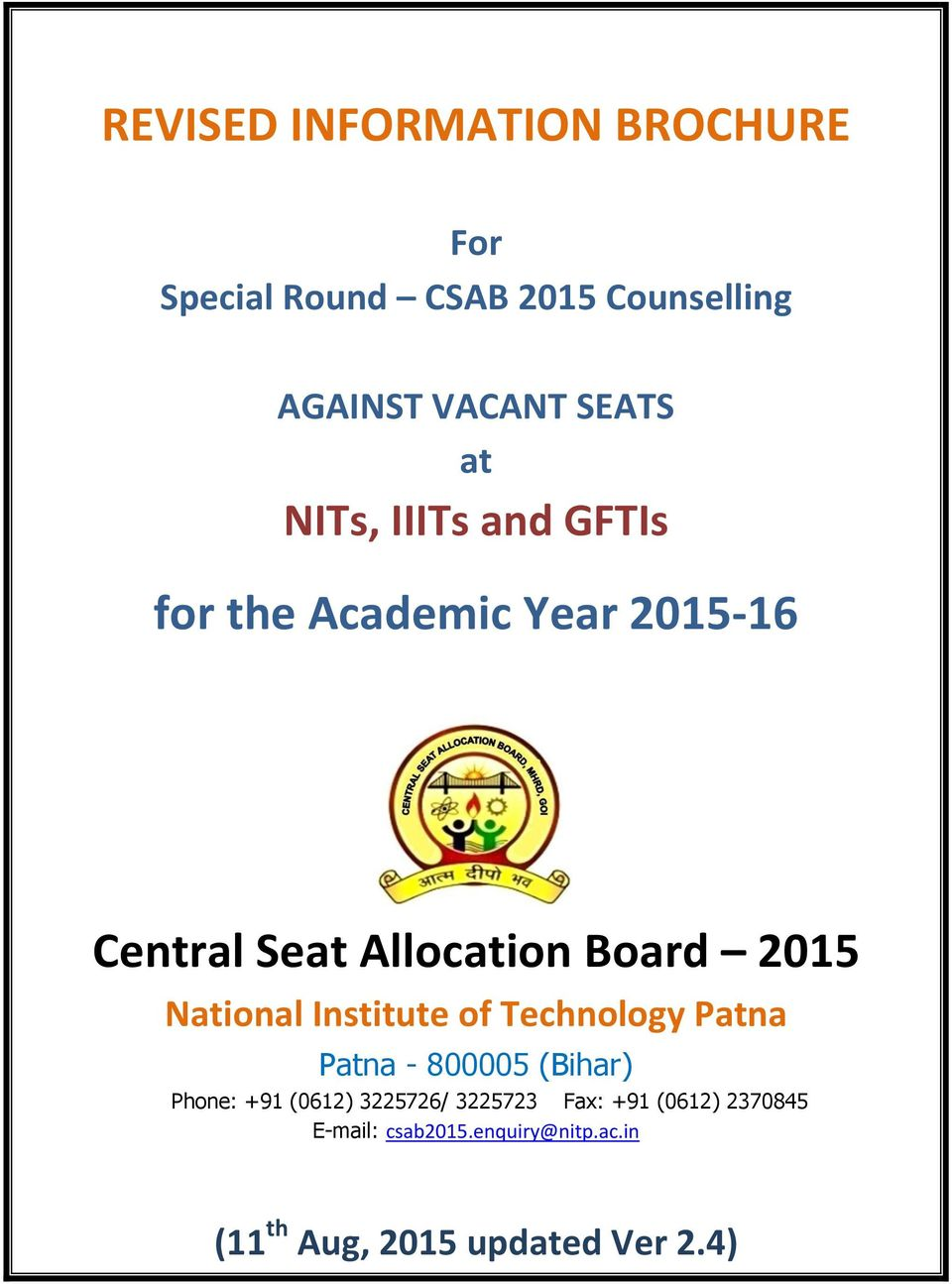 National Institute of Technology Patna Patna - 800005 (Bihar) Phone: +91 (0612) 3225726/