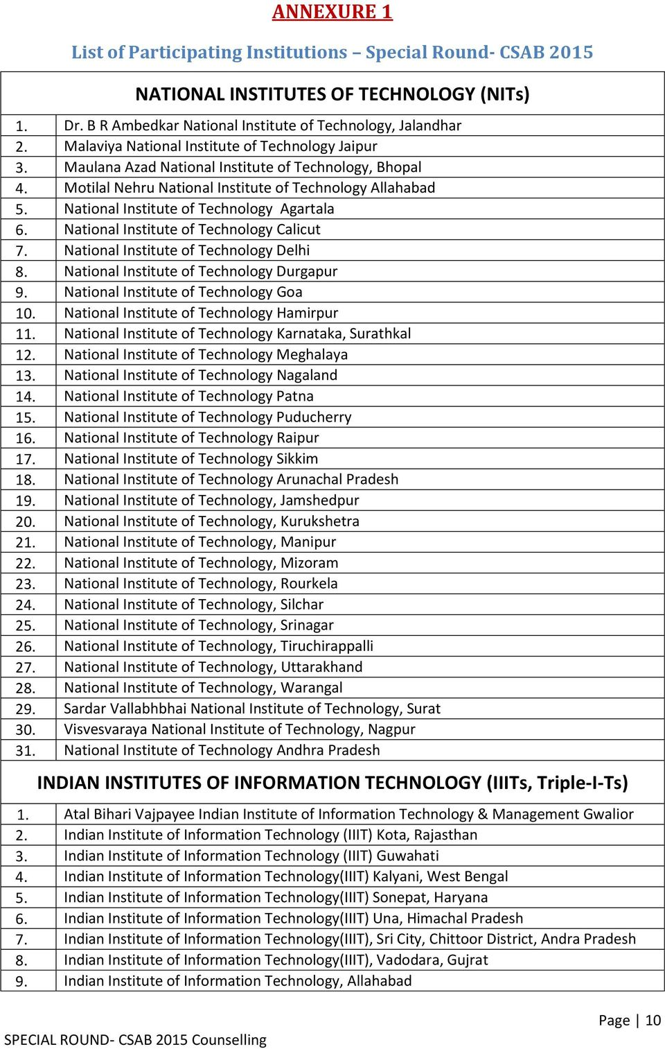 National Institute of Technology Agartala 6. National Institute of Technology Calicut 7. National Institute of Technology Delhi 8. National Institute of Technology Durgapur 9.