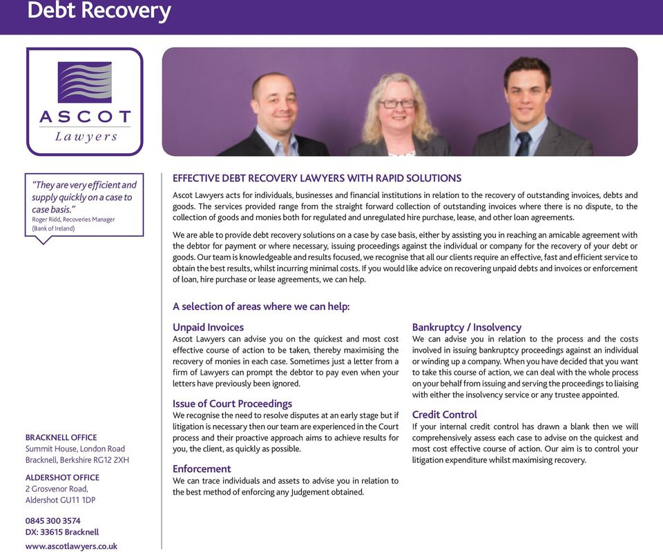 recovery of outstanding invoices, debts and goods.