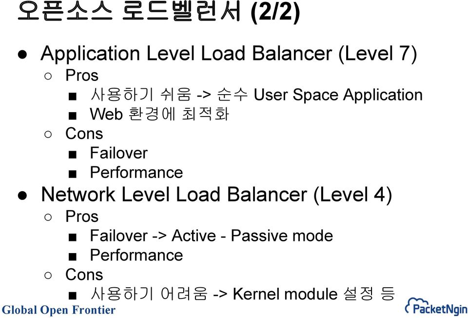 Performance Network Level Load Balancer (Level 4) Pros Failover