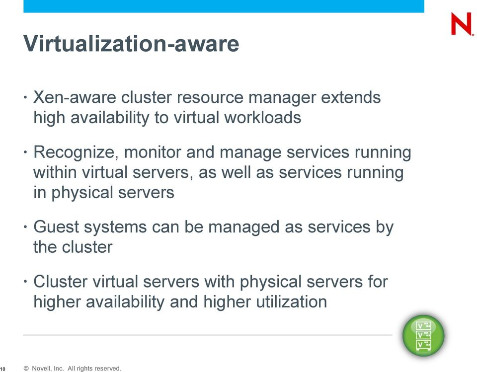 services running in physical servers Guest systems can be managed as services by the cluster