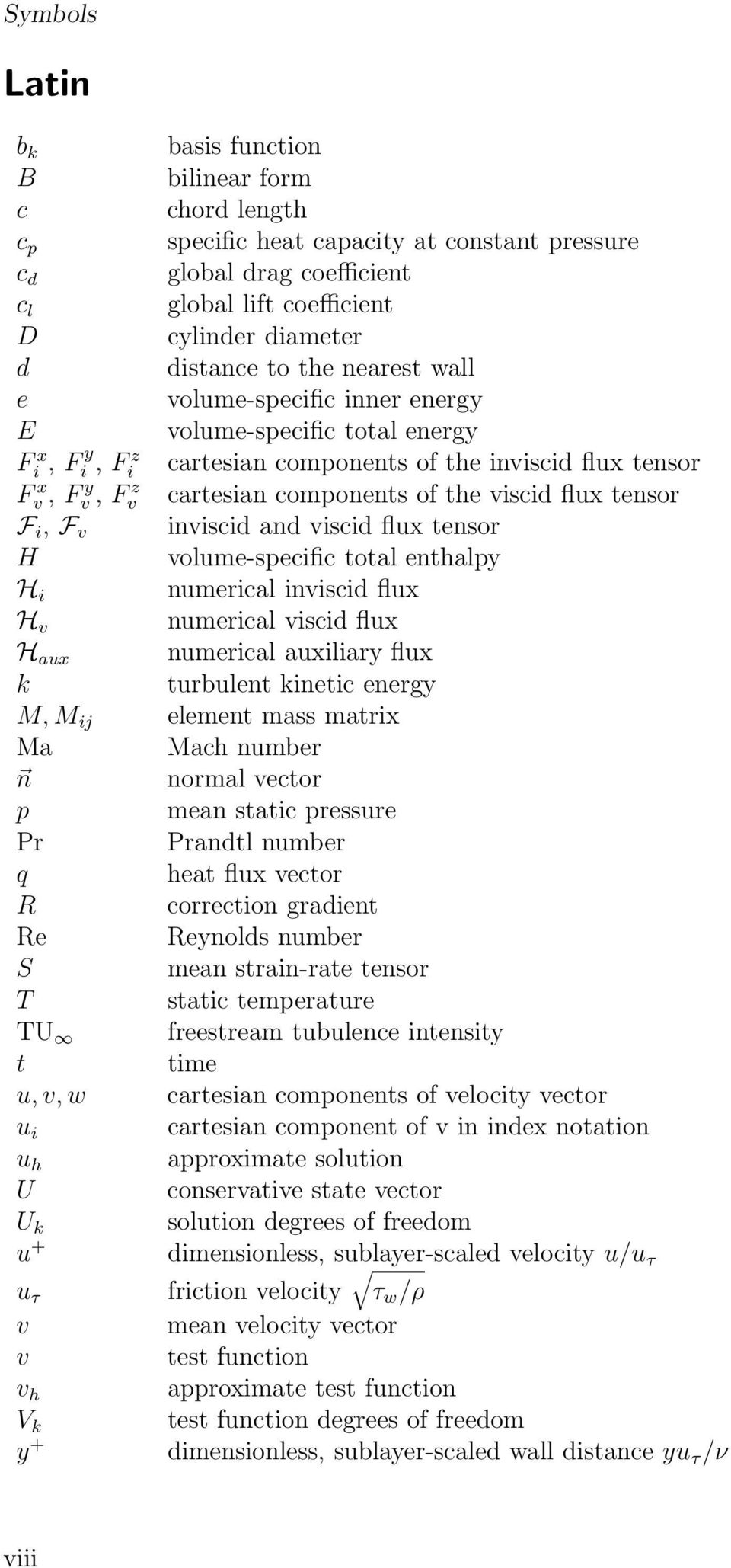 flux tensor F i, F v inviscid and viscid flux tensor H volume-specific total enthalpy H i numerical inviscid flux H v numerical viscid flux H aux numerical auxiliary flux k turbulent kinetic energy