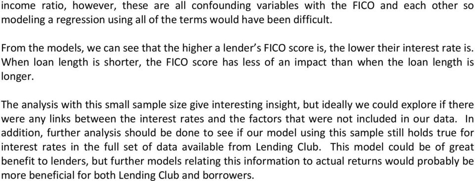 When loan length is shorter, the FICO score has less of an impact than when the loan length is longer.