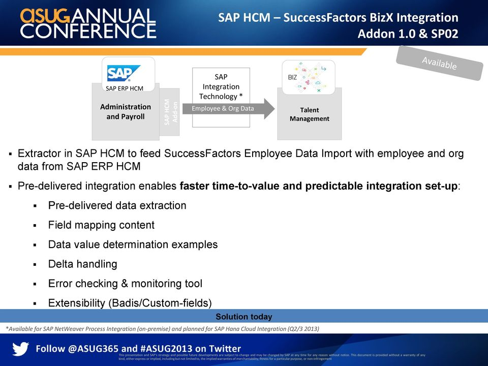 org data from SAP ERP HCM Pre-delivered integration enables faster time-to-value and predictable integration set-up: Pre-delivered data extraction Field mapping content Data value determination