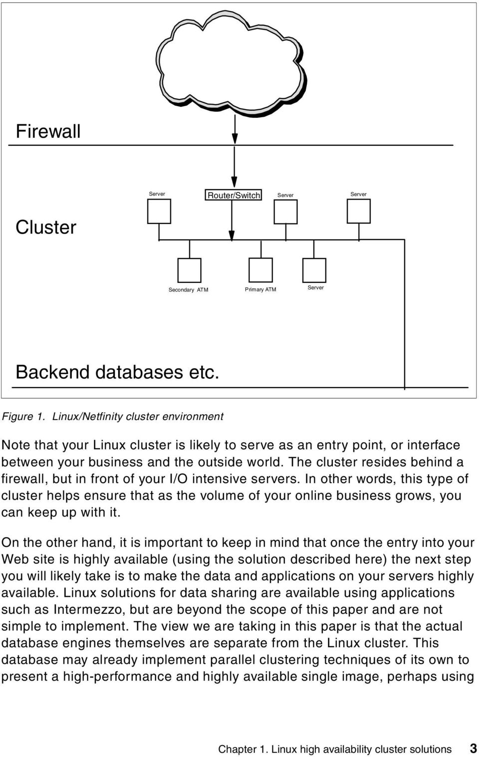 The cluster resides behind a firewall, but in front of your I/O intensive servers.