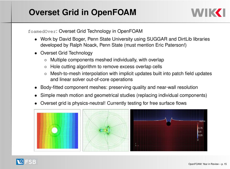 ) Overset Grid Technology Multiple components meshed individually, with overlap Hole cutting algorithm to remove excess overlap cells Mesh-to-mesh interpolation with implicit