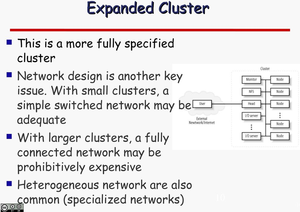 With small clusters, a simple switched network may be adequate With larger
