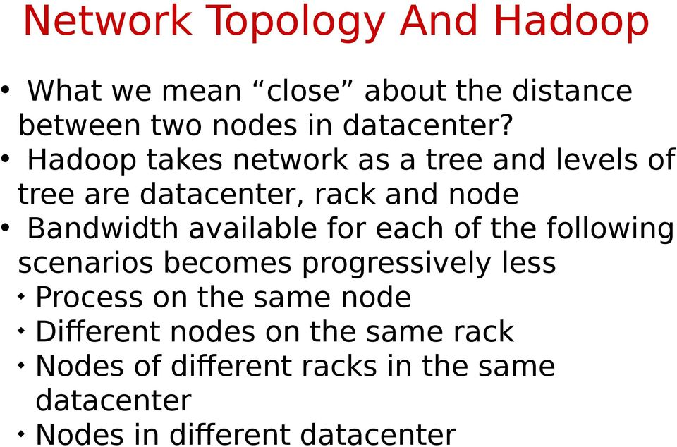 for each of the following scenarios becomes progressively less Process on the same node Different