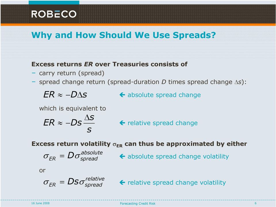 spread change s): ER D s absolute spread change which is equivalent to ER Ds s s relative spread change Excess