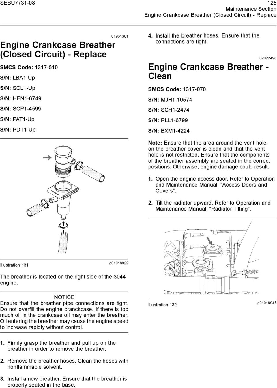 maintenance intervals pdf i02022498 engine crankcase breather clean smcs code 1317 070 s n
