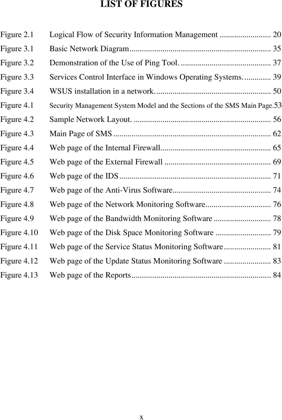 53 Figure 4.2 Sample Network Layout.... 56 Figure 4.3 Main Page of SMS... 62 Figure 4.4 Web page of the Internal Firewall... 65 Figure 4.5 Web page of the External Firewall... 69 Figure 4.