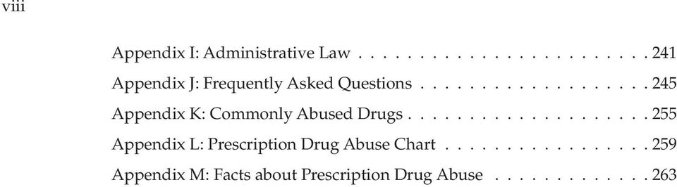 .................. 245 Appendix K: Commonly Abused Drugs.