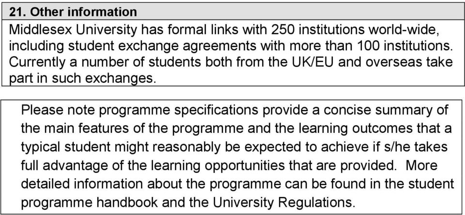 Please note programme specifications provide a concise summary of the main features of the programme and the learning outcomes that a typical student might