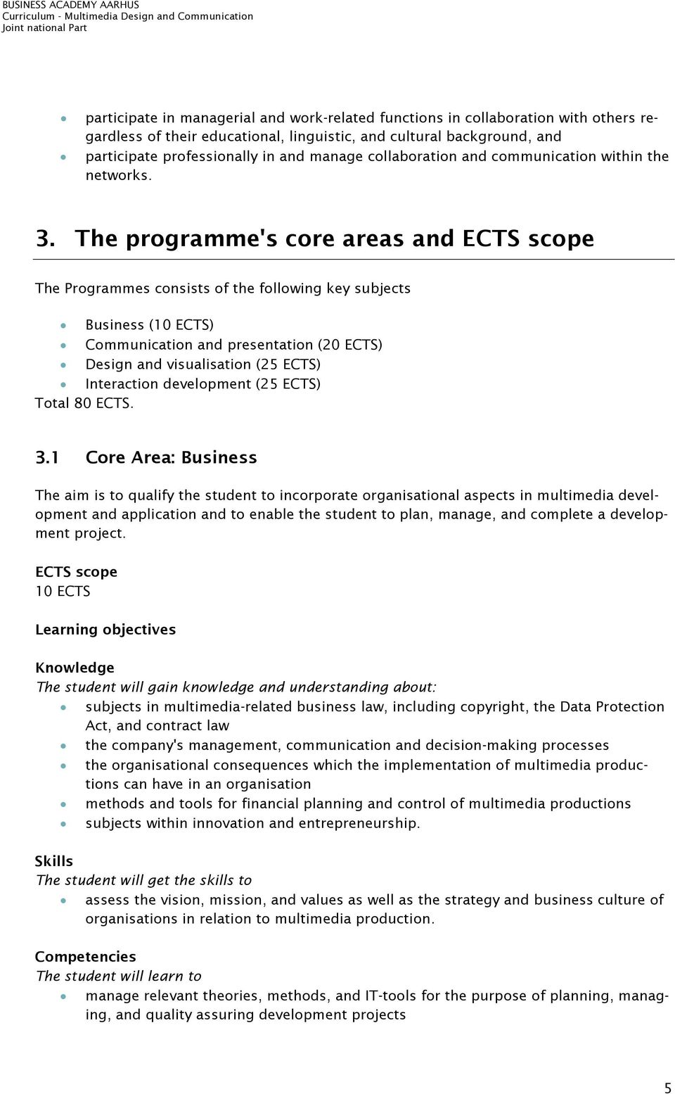 The programme's core areas and ECTS scope The Programmes consists of the following key subjects Business (10 ECTS) Communication and presentation (20 ECTS) Design and visualisation (25 ECTS)