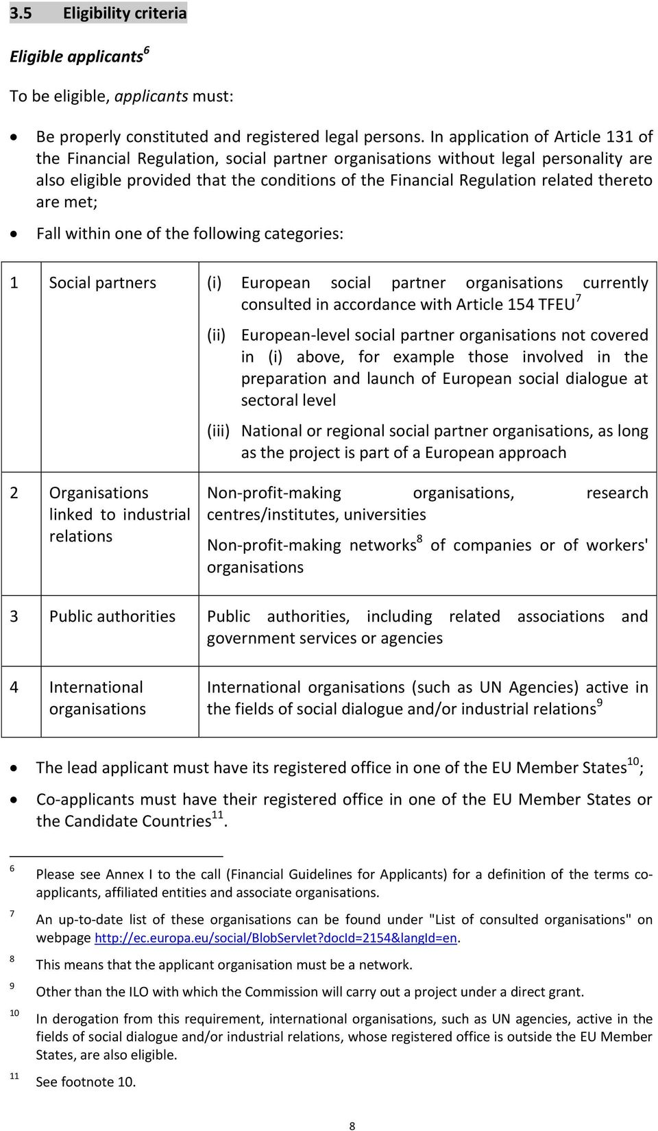 thereto are met; Fall within one of the following categories: 1 Social partners (i) European social partner organisations currently consulted in accordance with Article 154 TFEU 7 (ii) European-level