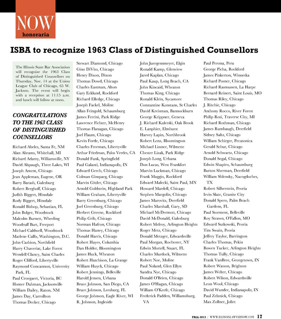 CONGRATULATIONS TO THE 1963 CLASS OF DISTINGUISHED COUNSELLORS Richard Abeles, Santa Fe, NM Alan Abrams, Whitehall, MI Richard Adamy, Williamsville, NY David Alspaugh, Three Lakes, WI Joseph Ament,