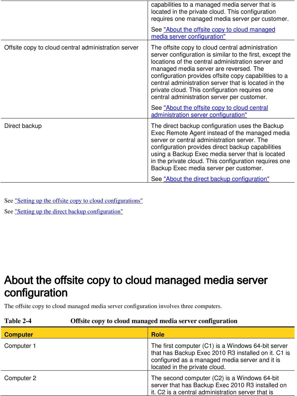 "See ""About the offsite copy to cloud managed media server configuration"" The offsite copy to cloud central administration server configuration is similar to the first, except the locations of the"
