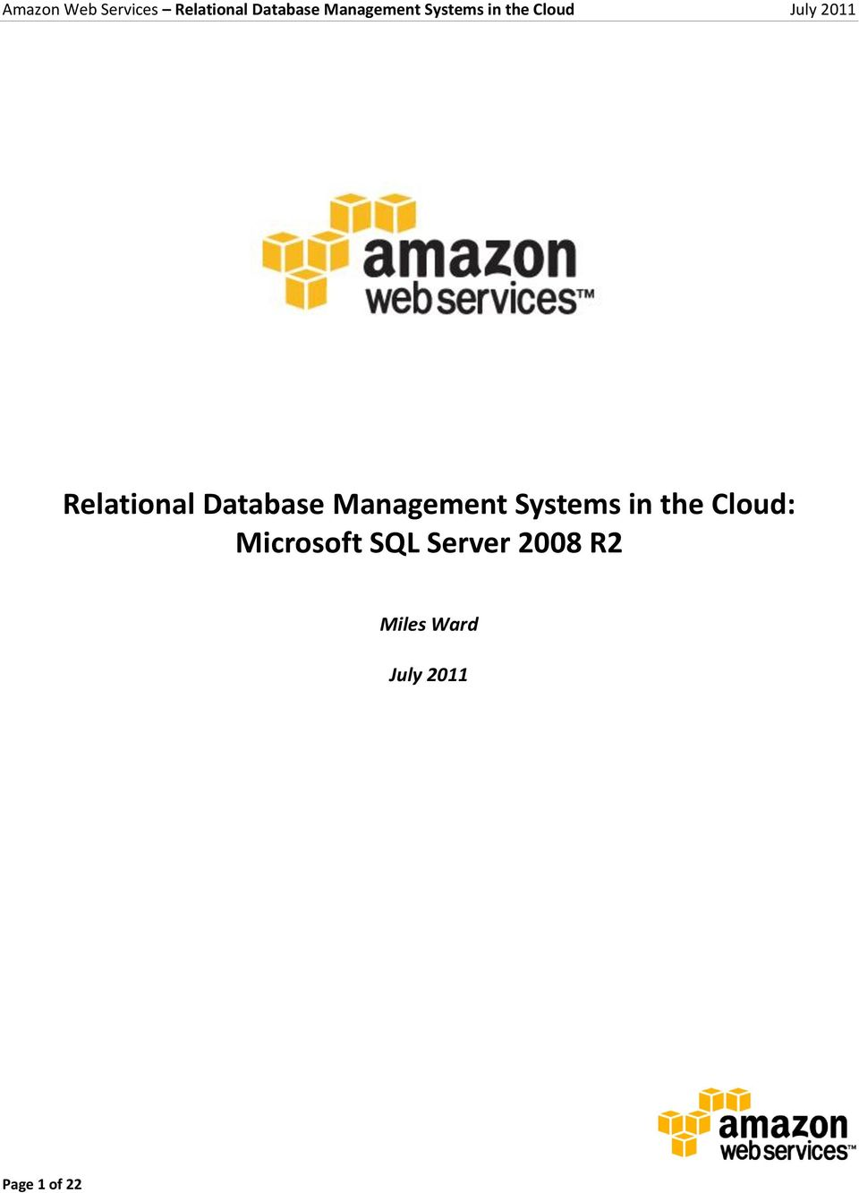 Cloud: Microsoft SQL Server