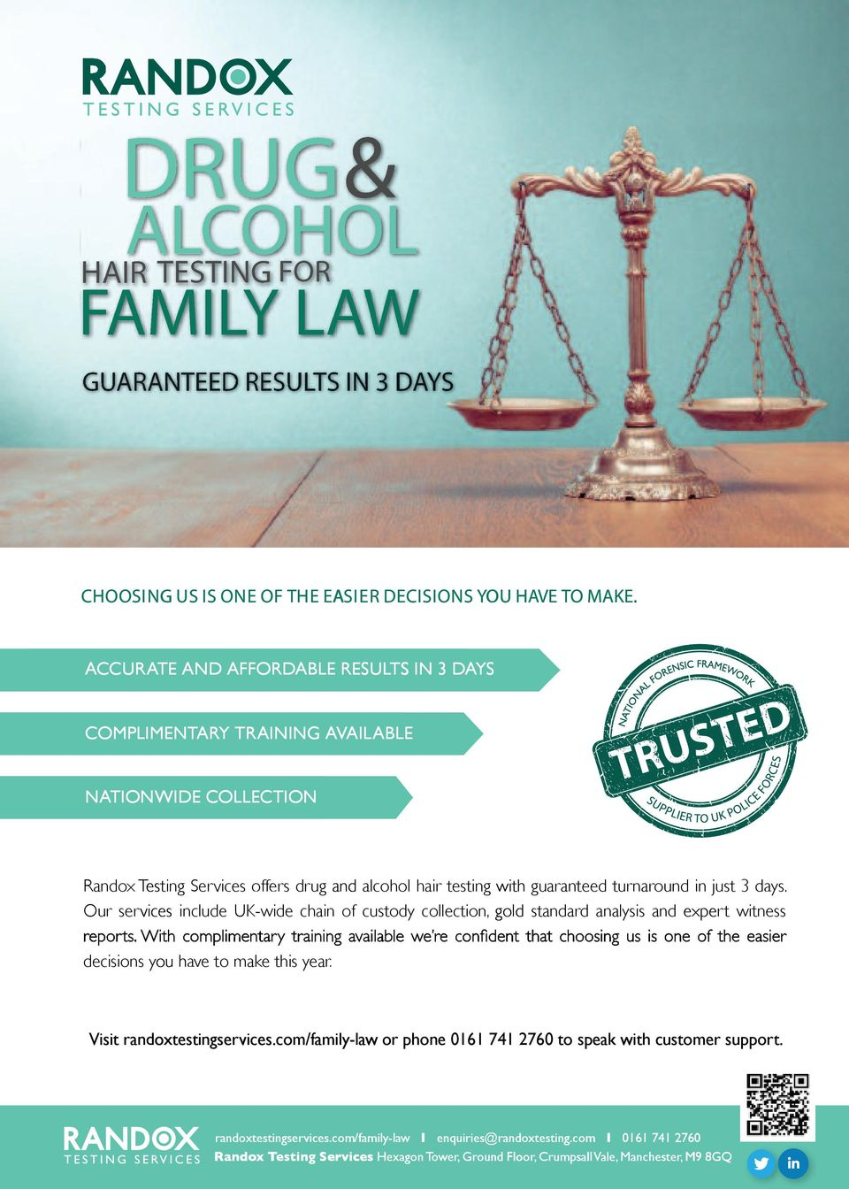 drug and alcohol hair testing with guaranteed turnaround chain of custody collection, gold standard analysis and in just 3 days.